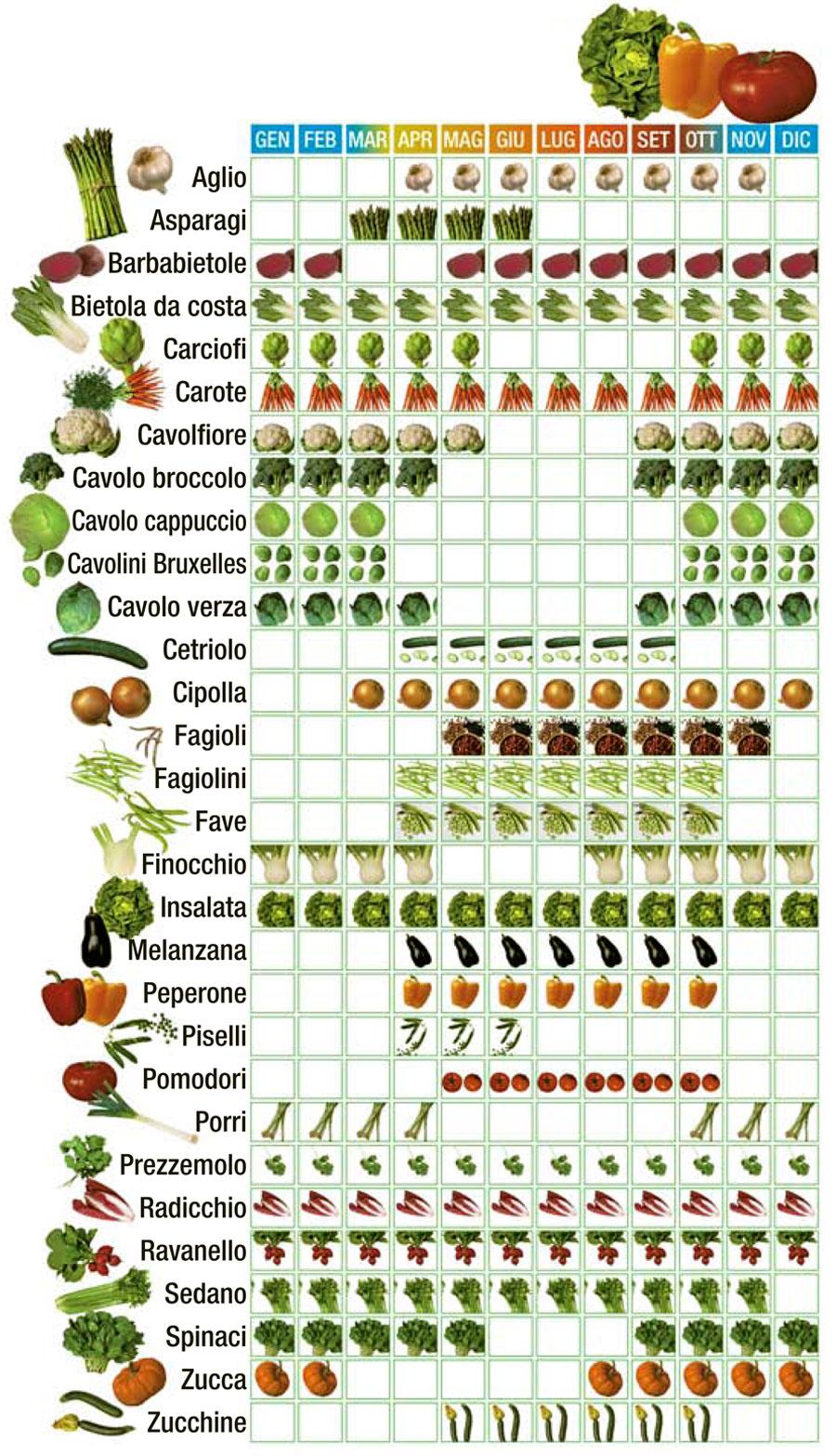 calendario di verdura di stagione
